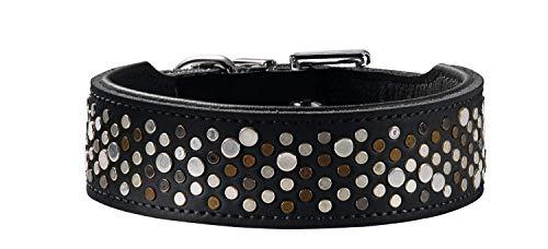 HUNTER BASIC RIVELLINO Hundehalsband, beschichtetes Spaltleder, Kunstleder, individueller Nietenbesatz, 55 (M), schwarz