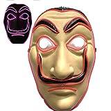 Máscara Dali Mask LED CASA de Papel Salvador Dali Plástica Mascarilla Realistic Cosplay Máscara de fiesta Halloween (Rojo)