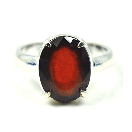 Genuine Hessonite Silver Ring Men Women Mark 6 Carat Size H,K,M,N,P,R,S,T,U,X,Z