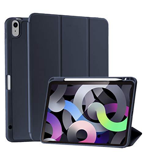 SIWENGDE Hülle für iPad 10.9 2020,Ganzkörperschutz Rugged Shockproof für iPad Air 4 Hülle Tri-Fold Folding Smart Cover für iPad 10,9 Zoll Unterstützt Apple Pencil Charging,Auto Wake/Sleep (Navy blau)
