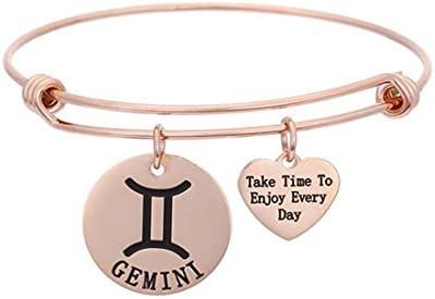 RUNXINTD Rose Gold Zodiac Sign Bracelets 12 Zodiac Constellation Jewelry Gift for Women Girls product image