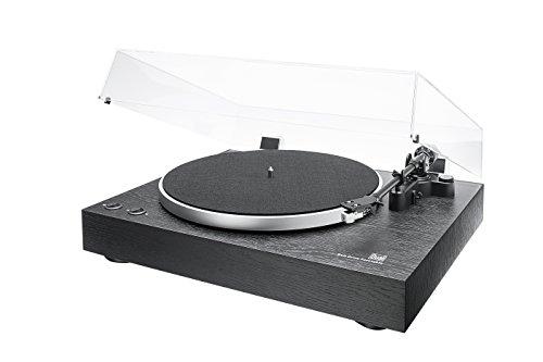 Dual DT 450 manueller Plattenspieler (Riemenantrieb, Holz-Gehäuse, 33/45 U/min, Magnet-Tonabnehmer System) Schwarz