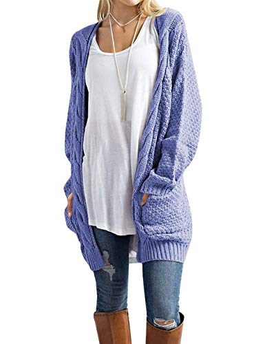 Traleubie Women's Sweaters Open Front Long Sleeve Knit Long Cardigan Lilac Blue XL