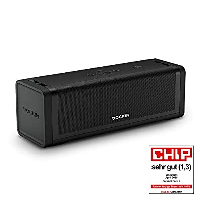 DOCKIN D FINE+ 2 Hi-Fi Bluetooth Speaker - Portable speaker for indoor & outdoor, 50W, wireless, water-protected, carrying strap, strong battery lasting 16 hours, perfect sound, THREE sound modes by DOCKIN