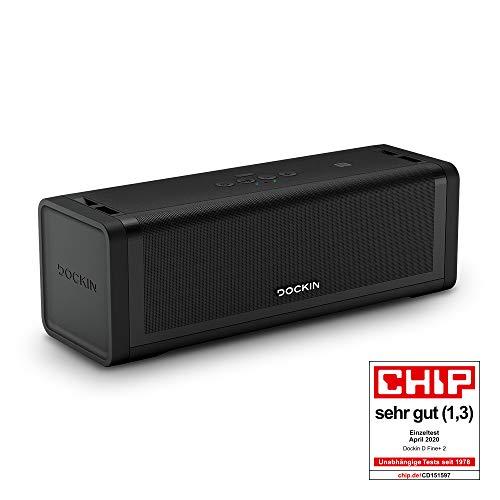 DOCKIN D FINE+ 2 Hi-Fi Bluetooth Speaker – Lautsprecher für Indoor & Outdoor, 50W, Wireless, wassergeschützt, Tragegurt, starker Akku mit 16 Stunden, Perfekter Klang, DREI Soundmodi
