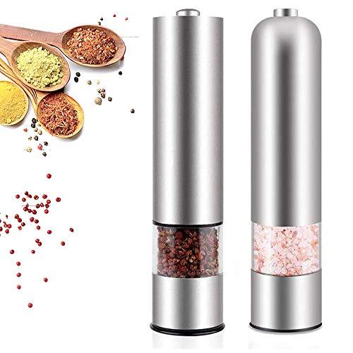 N/D Elektrische Salz und Pfeffermühle, mit Einstellbarem Keramikmahlwerk, Edelstahl Salzmühle Gewürzmühle mit Sichtfenster (2 er)