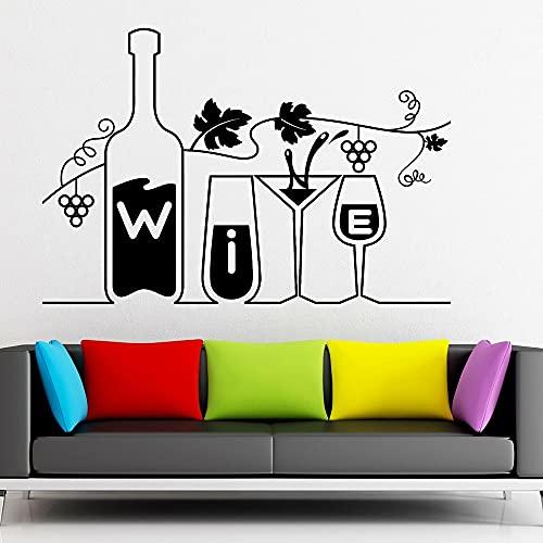 Copa de vino y botella, calcomanía de pared para cocina, restaurante, Bar, arte de bricolaje, ventana, vinilo, pegatina, decoración de habitación en casa 110x75cm