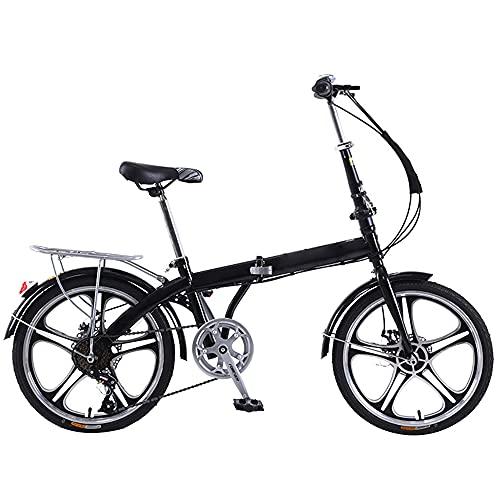 Ansongou マウンテンバイクの黒い折りたたみバイクの高さ調節可能な座席とスペースを節約する山や道路のための7スピードデュアルサスペンションホイール W