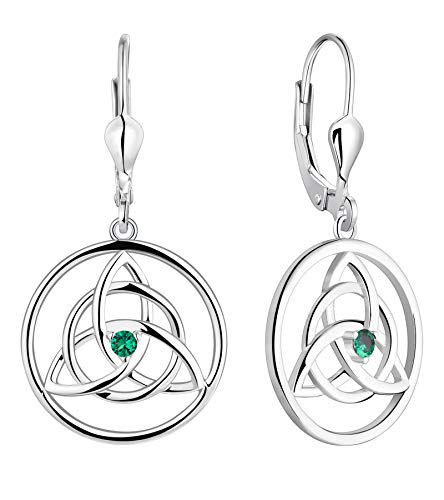 YL Celtic Knot Earrings 925 Sterling Silver Created Emerald Trinity Leverback Earrings Love Knot Dangle Drop Jewelry