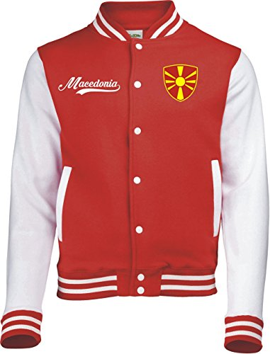 Aprom-Sports Mazedonien College Jacke - Retro - ROT -1- (S)