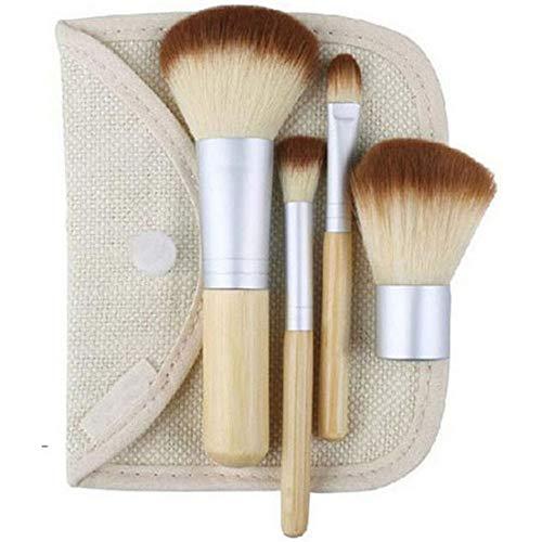 CAIYAN 4 PCS/LOT Bambou Brosse Fondation Brosse Maquillage Pinceaux Pinceau Cosmétique Visage Poudre for Maquillage Beauté Outil (Color : Clear)