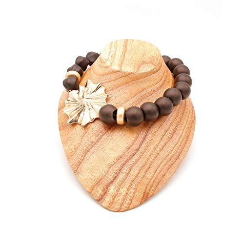 Collares De Bisutería para Mujeres - Estilo Gargantilla De Bolas o Perlas con Preciosa Flor - Calidad Española (Negro)