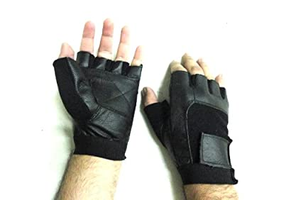 Leather Multi-Purpose Biker Motorcycle Cycling Weightlifting Gym Workout Fitness Fingerless Spandex Gloves lll-1008