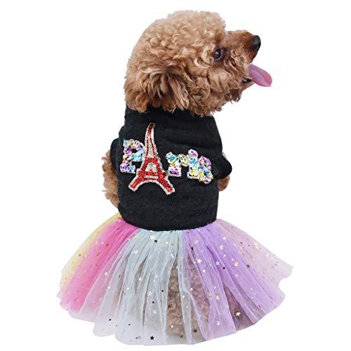 Hawkimin_Haustier Hunde Kleid Hundekleid, Kleidung Hundekatze Hundepullover Nettes Buntes Mantel-Kleid T Shirt Kleidung Pullover Welpe Kleine Pet Kleider Casual Gedruckt Mantel Hundemantel