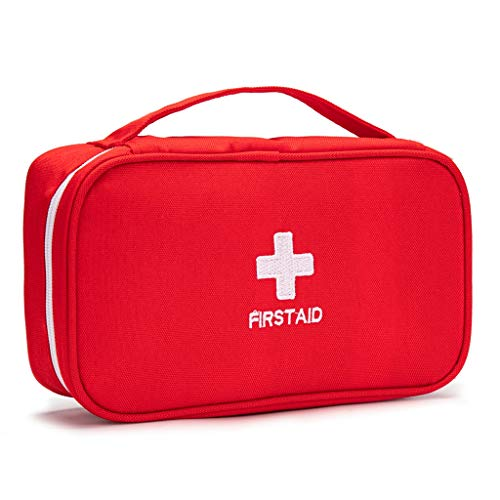 Jipemtra First Aid Bag Tote Empty Small First Aid Kit Bag Outdoor Travel Rescue Pouch First Responder Medicine Bag Pocket Container for Car Home Office Sport Outdoors (Red Handle)