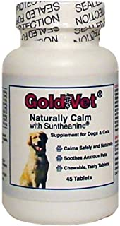 Gold Vet Naturally Calm with L-Theanine. 45 Delicious Chewable Calming Tablets. Helps Dogs & Cats Cope with Separation Anx...