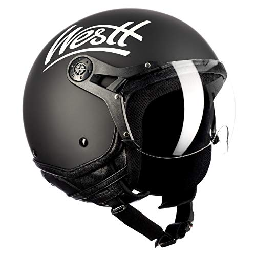 Westt Classic X Casco de Moto Jet Abierto - Estilo Vintage - Negro Mat