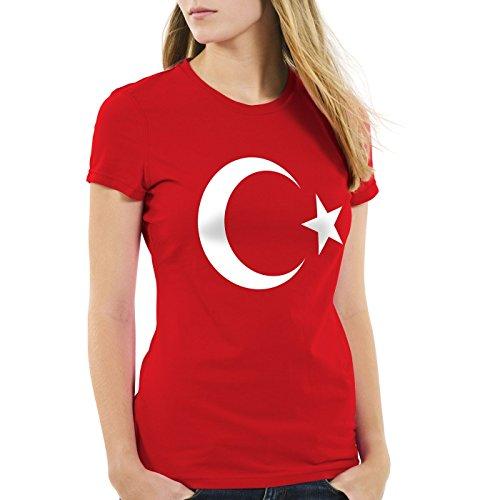 CottonCloud Türkei Damen T-Shirt Turkey Türkiye Flagge Mondstern, Farbe:Rot, Größe:XS