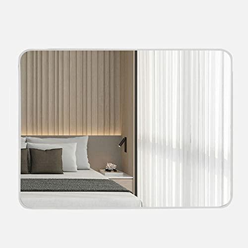 LYLSXY Grande Specchio Arrotondato Angolo Arrotondato, Specchi per Pannelli in Vetro Galleggiante, Si Blocca Orizzontale O Verticale (Color : White, Size : 80x60cm)