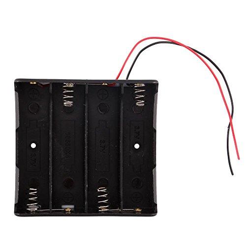 Zerone Caja de almacenamiento de batería negra para 4 baterías 18650 con cables de 6 pulgadas