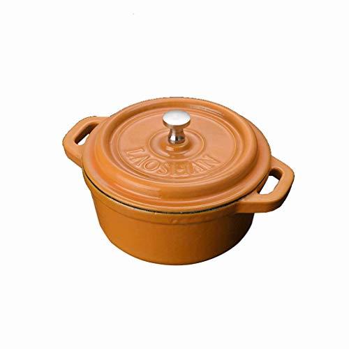 AGGF Mini 13 cm in ghisa Smaltata Spessa Cocotte Multicolor Dutch Oven/Casserole Dish Fornello a induzione Universale (Colore: Arancione)