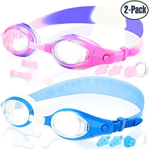 Cooloo Kinder-Schwimmbrille, für Mädchen und Jungen, für 3 - 15 Jahre, Anti-Beschlag, wasserdicht, UV-Schutz, 2 Stück, Kinder, 03.Iris Purple/ Royal Blue, Einheitsgröße