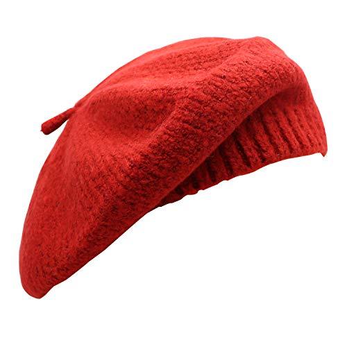 Umeepar Damen Gestrickt Französischen Baskenmütze Mütze (Rot)