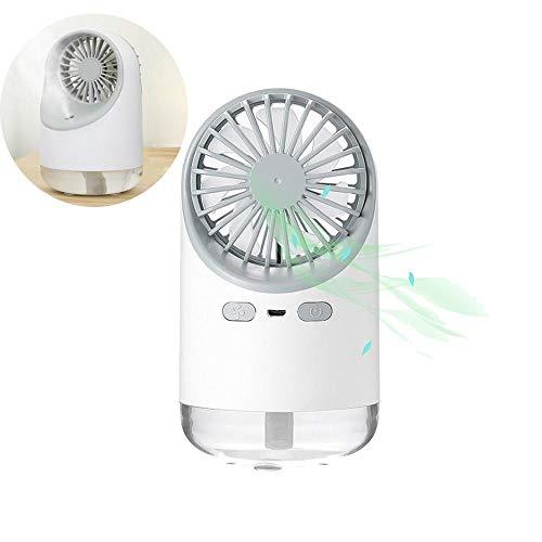 HAMKAW - Mini ventilatore portatile con acqua nebulizzata, 3 in 1, multifunzione, umidificatore silenzioso, ricaricabile, luce notturna pratica per casa, ufficio, campeggio, auto, colore: bianco