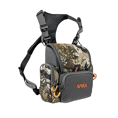 SPIKA Hunting Camouflage Front Pack with Rain Cover Tactical Military Bino Pack Adjustable with Shoulder Straps for Shooting Hiking Outdoors