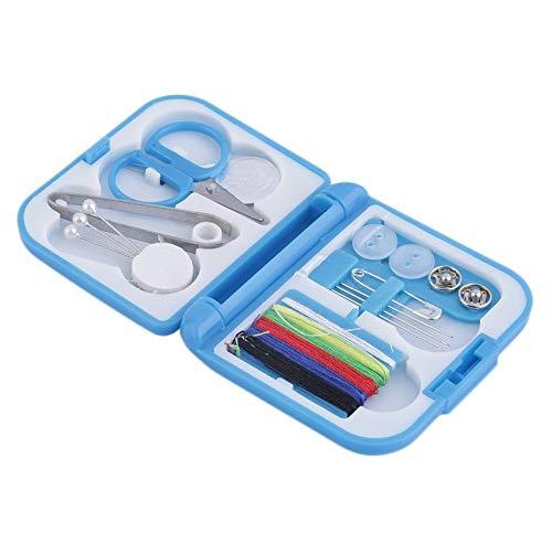 Azul Hilo de coser completo con estilo Aguja Tijera Dedal Mini Estuche de almacenamiento de pl/ástico Kit de costura Herramienta para uso en viajes dom/ésticos