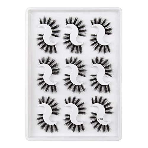 9 Pairs Falsche Wimpern,Mink Soft And Thick False Eyelashes,Hair False Eyelashes Natural/Thick Long Eye Lashes Volume Soft Wispy Makeup Beauty Tools