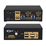 CKL 2 Port USB 3.0 KVM Switch Dual Monitor HDMI 4K 60Hz, Keyboard Video Mouse Peripherals Switcher for 2 Computers 2 Monitors with Audio 922HUA-3