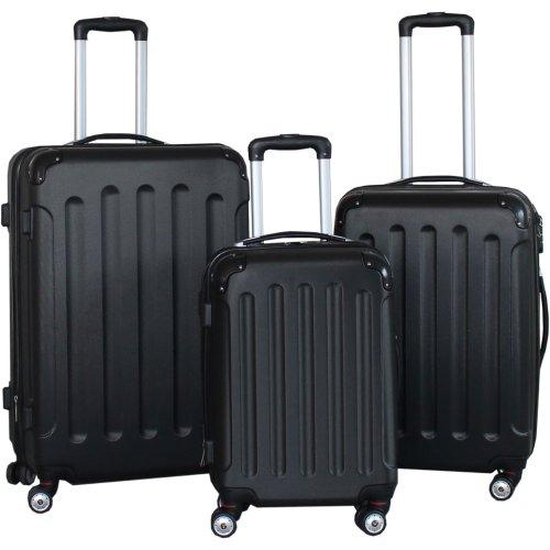 BERWIN® Kofferset 3-teilig Reisekoffer Trolley Hartschalenkoffer ABS Teleskopgriff (Schwarz)