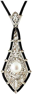 Pendente Oro Bianco, Perla Australiana e Diamanti