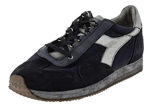 Diadora Heritage, Uomo, Equipe H Dirty Stone Wash Evo, Pelle/Tela, Sneakers, Blu, 43 EU