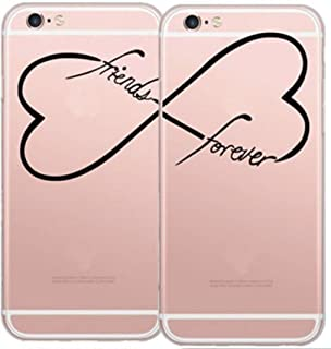 Set of 2pcs Deco Fairy Flexible Silicone Case Cover Compatible for iPhone 6 / 6s - BFF Best Friends Forever Friendship Infinity