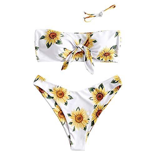 ZAFUL Women's Removable Strap Knot Front Sunflower Print Bandeau Bikini Set (White, M)