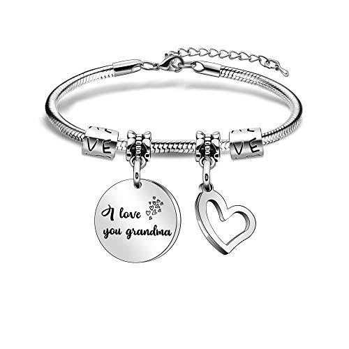 Grandma Grandmother Bracelets from Granddaughter Grandson Heart Pendant Bracelets Women Charm Bracelets for Charistmas Birthday Mother's Day Family Jewellery