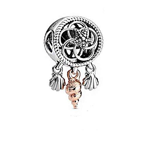 LISHOU Joyería De Plata Esterlina 925 para Mujer Encantos De Atrapasueños De Concha Marina De Verano Cuentas Aptas para Pulseras De Pandora Europeas Collares Fabricación De Joyas De Bricolaje