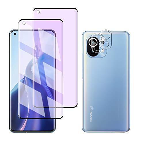 FiiMoo Protector de Pantalla Compatible con Xiaomi Mi 11 5G Anti luz Azul Vidrio Templado/Protector de Lente de Cámara, [1+2 Pack][Alivie la Fatiga Ocular] [Anti Blue Light] para Xiaomi Mi 11 5G