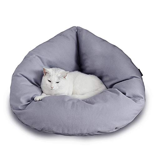 Susupet Cat Bed Cave House Bed - Beds Best for Indoor Cats Houses Heated Kitten Warm Pet Self Warming w/Hoods Caves Igloo Covered Pod Felted Faux Felt Wool Cocoon - 2-in-1