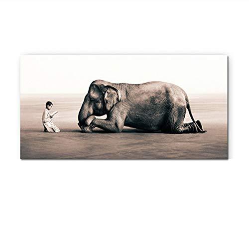 nr Buddhismus Mönch und Elefant Leinwand Malerei Asche und Schnee Poster Religiöser Druck Wandkunst Bild Wohnzimmer Druck auf leinwand-60x120cm Kein Rahmen
