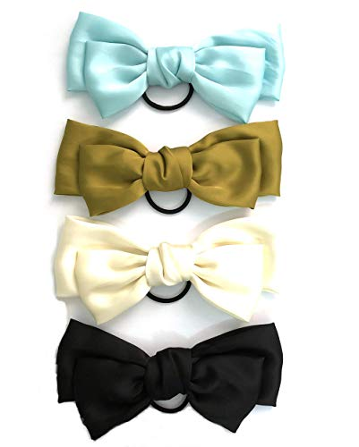 JaneOft 4 Pieces Bow Hair Tie, Big Hair Ribbon Rubber Bands 4