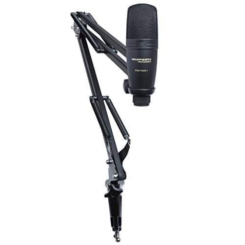 Marantz Pro Complete Podcast Kit - USB Condenser Studio Microphone, Audio Interface, Fully-Adjustable Broadcast Stand and USB Cable - Pod Pack 1