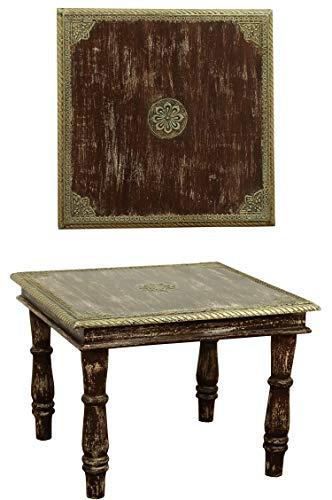 Orientalischer Couchtisch Beistelltisch Anjay 55cm Groß | Vintage kleiner Tisch aus Holz massiv mit Messing verziert für Ihre Wohnzimmer | Niedriger Marokkanischer Sofatisch Wohnzimmertisch Braun