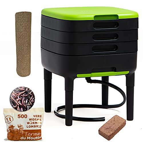 WormBox TinyWorm Design & Compact I 3-Etagen-Wurmkomposter. I 250gr Kompostwürmer / 500 STK. I Komplett-Set I Schublade I Kunststofffüße