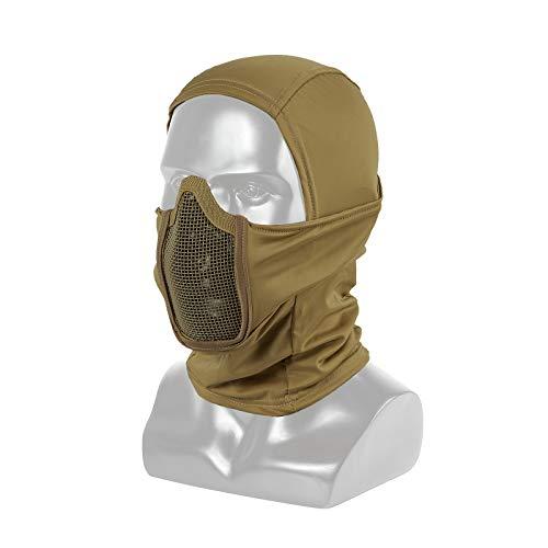 Will Outdoor Demi-Masque de Maille dacier r/églable avec Protection doreille pour la Chasse au Paintball CS
