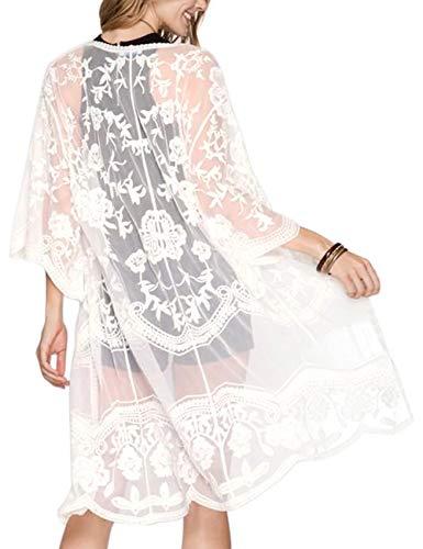 iWoo Kimono Damen Spitze Häkeln Vorne Hohle Bluse Weiß Damen Perspektivische Offen Cover Up Strandkleid Lang-Weiß