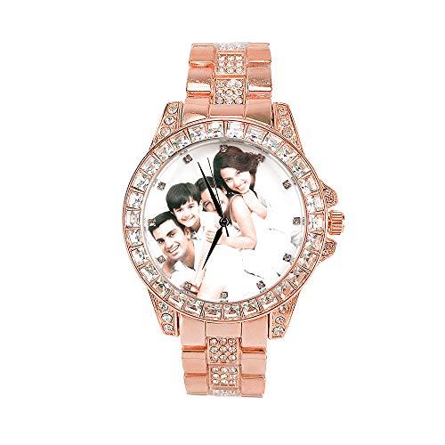 Reloj de Fotos Personalizado para Mujer, Reloj de Diamantes Completamente Helado, Personalizado con su Propia Foto