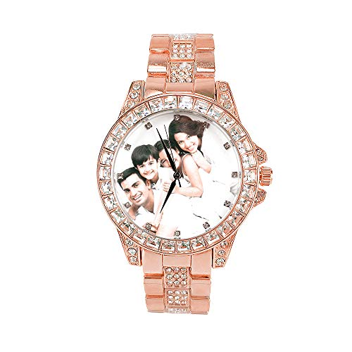 Reloj de Fotos Personalizado para Mujer, Reloj de Diamantes Completame